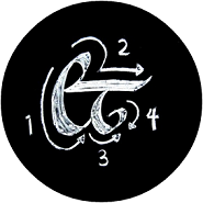 an ampersand with calligraphy stroke order drawn beautifully with chalk on blackboard